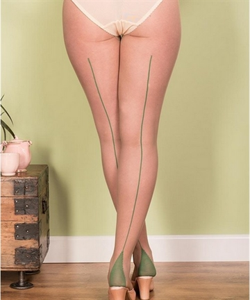 Retro Seamed Tights Green