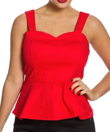 Laurie Red Fitted Peplum Top