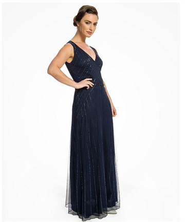 Pearl Navy 1920s maxi dress