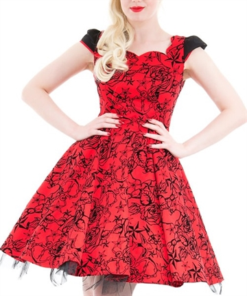 Red Flocked Evening Swing Dress